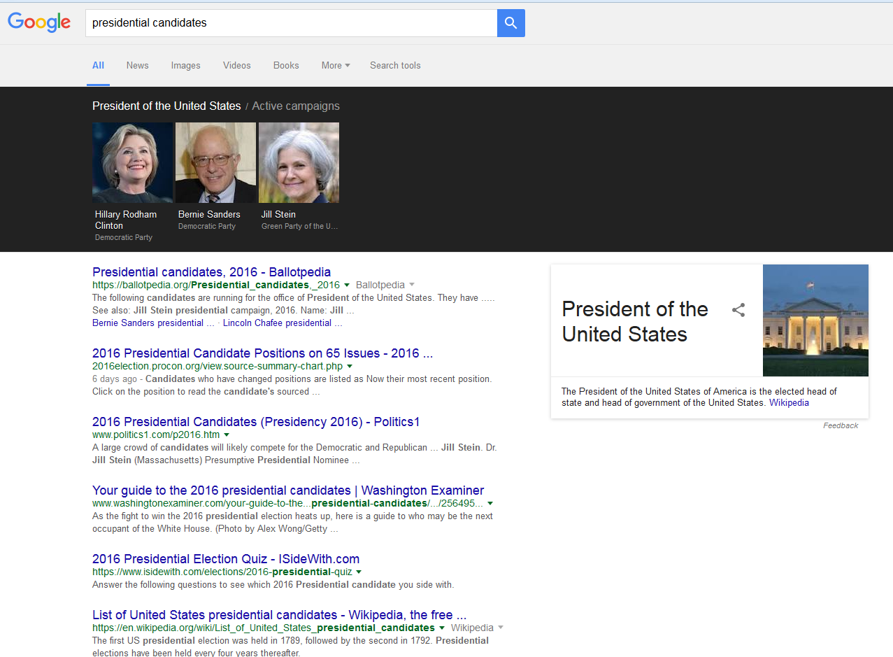 Trump Not Listed in Google Search for 'Presidential Candidates'