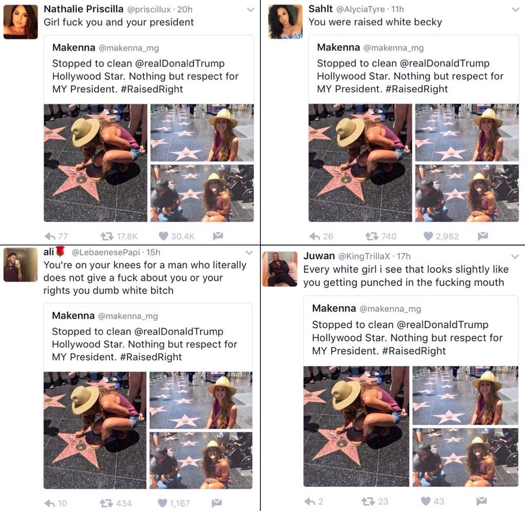 'Dumb White B*tch': Leftist Twitter Mob Attacks Girl For Cleaning Trump's Walk Of Fame Star