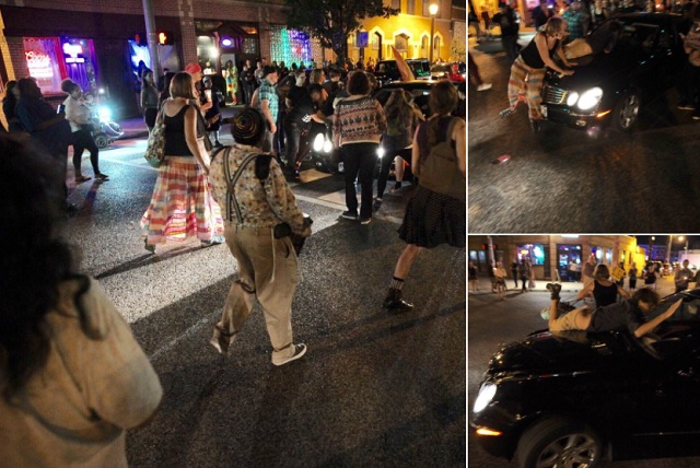 Car Drives Through Trans Protesters