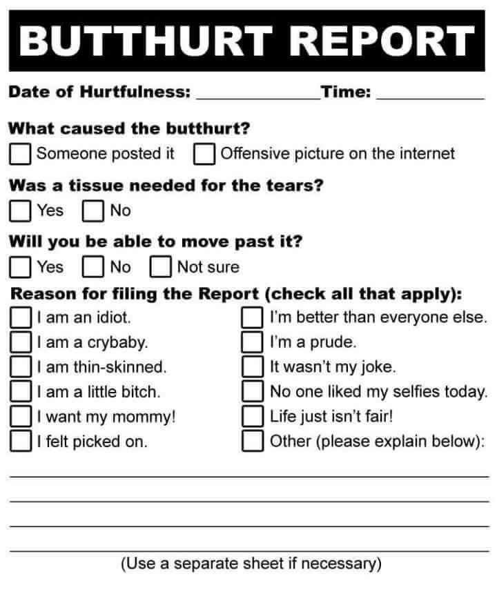 Monster image pertaining to butthurt report form printable