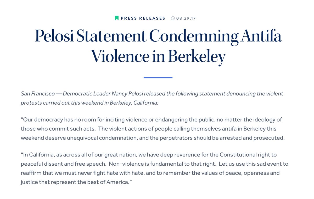 Hell Freezes Over: Nancy Pelosi Condemns Antifa