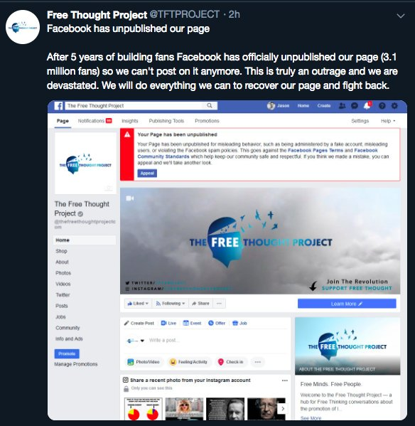 Facebook And Twitter Ban Popular Independent Media Sites In Coordinated Purge