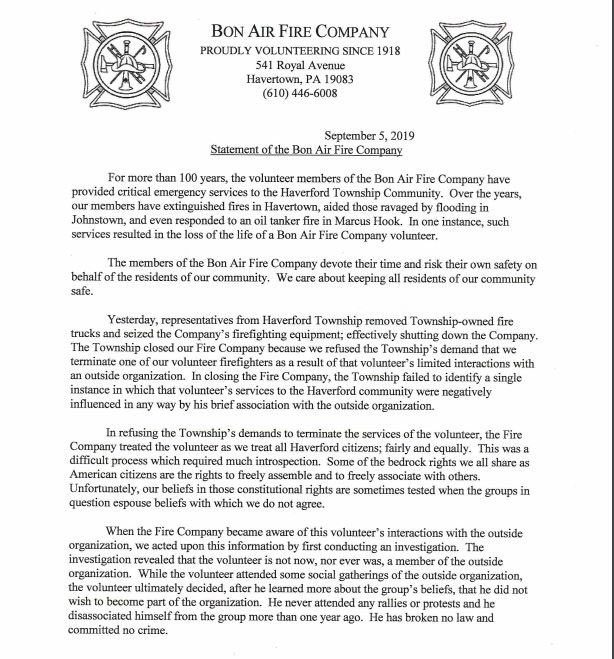 Township Shuts Down 100-Yr-Old, 37-Member Volunteer Fire Company Because One Firefighter 'Tried to Join The Proud Boys'