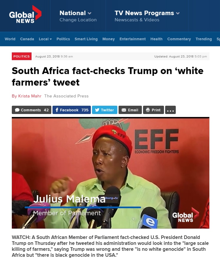 Global News Cites Unhinged EFF Leader Julius Malema In Supposed 'Fact-Check' Of President Trump