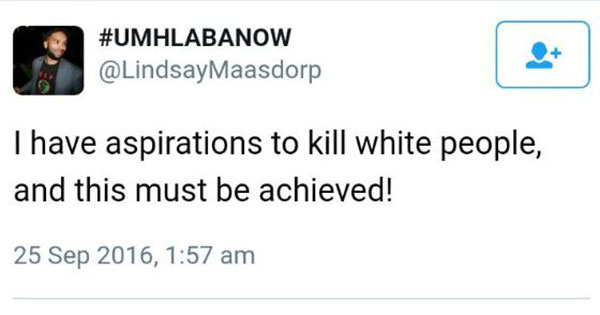White Existence Is a Crime, Says South African BFL Party Spokesperson