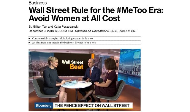 MeToo Backfires: Wall Street's New Rule Is 'Avoid Women At