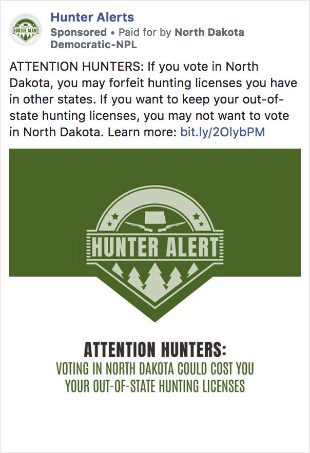 Facebook Approves Dem Ad Threatening North Dakota Hunters with Loss of License for Voting