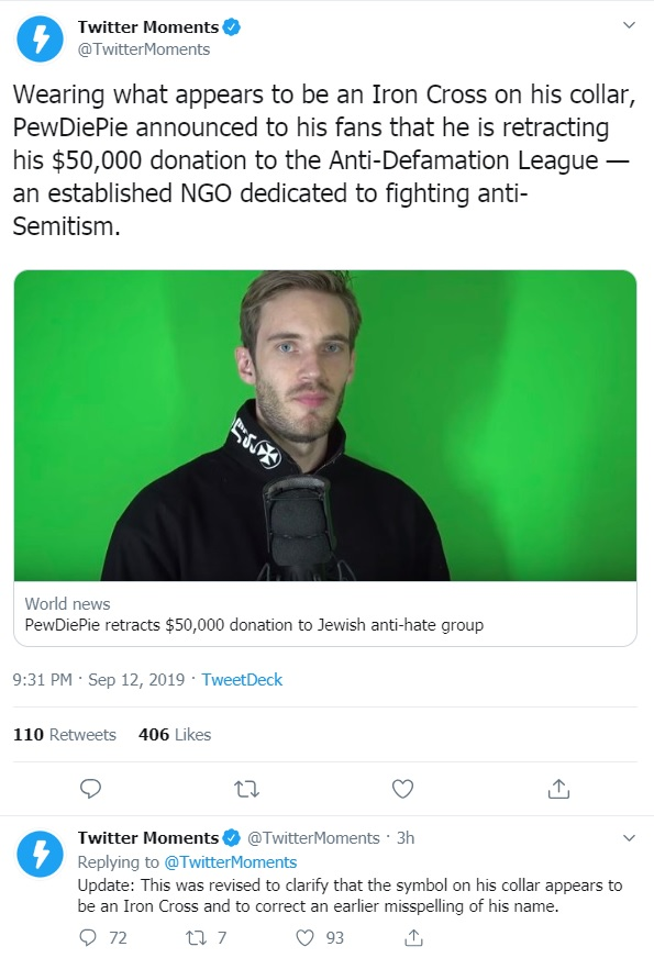 PewDiePie Cancels $50,000 Donation to ADL, Media Immediately Smears Him As A Nazi