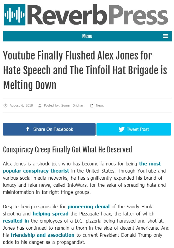 Leftist Site Which Cheered The Banning Of Alex Jones Just Got Banned Too