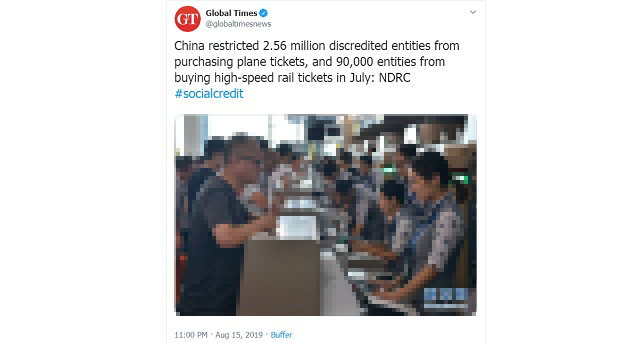 Chinese State Media Announces 2.56M 'Discredited Entities' Prevented From Purchasing Plane Tickets Under Social Credit System