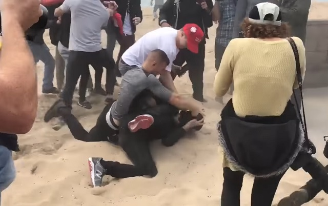 Antifa Thugs Beat Down & Arrested For Attacking Trump Supporters At Huntington Beach Rally