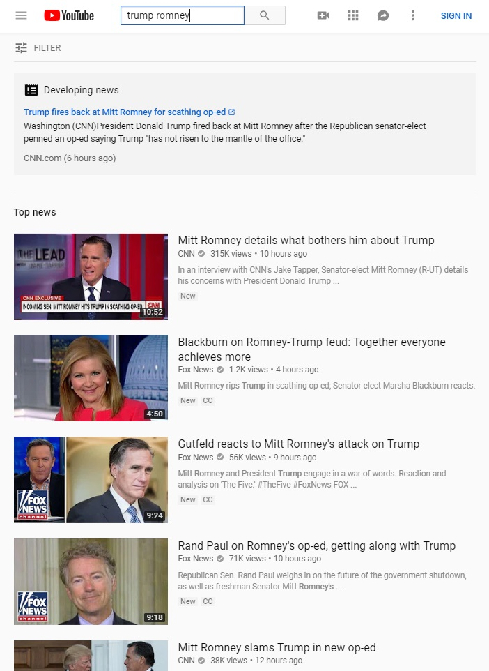 YouTube Begins Injecting Direct Links To CNN At Top Of Search Results