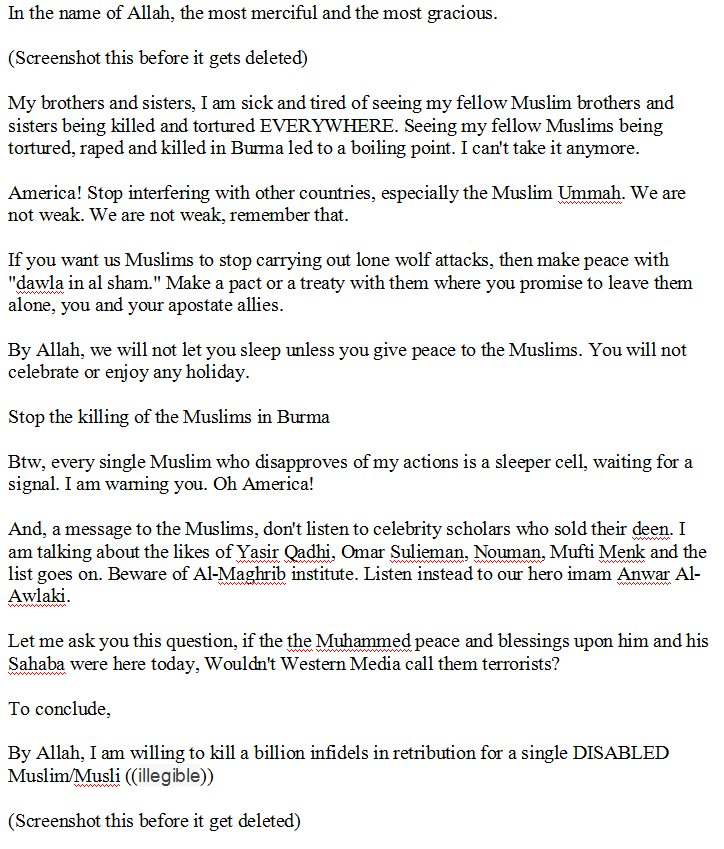 the full text of so refugee terrorist abdul razak ali   the full text of so refugee terrorist abdul razak ali artan s facebook rant
