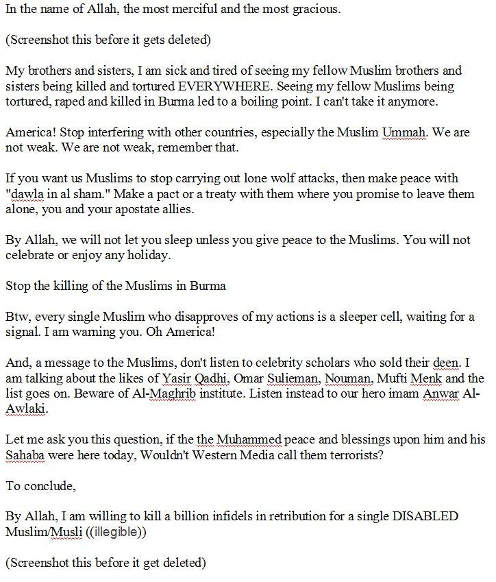 the full text of so refugee terrorist abdul razak ali   the full text of so refugee terrorist abdul razak ali artan s facebook rant