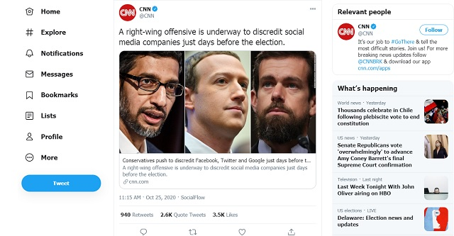 Beyond Parody: CNN Warns Conservatives Are Seeking to 'Discredit' Facebook  & Big Tech Ahead Of Election