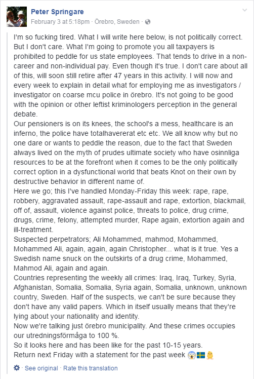 Sweden: 55yo Man Fined Over Facebook Post Saying Muslims 'Behind Many Rapes'